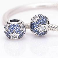 Шарм бусина Pandora Пандора PaveСинее сердце цирконий с белыми звездами , фото 1