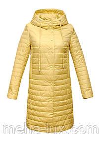 Пальто Clasna демисезонное прямое удлиненное желтое