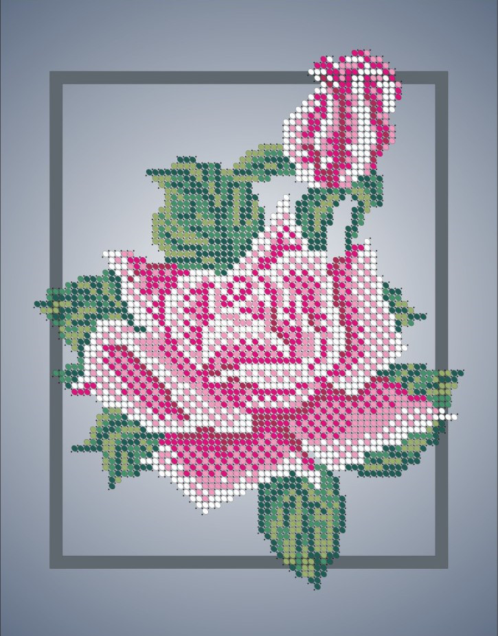 Схема для вишивки та вишивання бісером Бисерок «Роза з бутоном» (A4) 20x25 (ЧВ-3007)