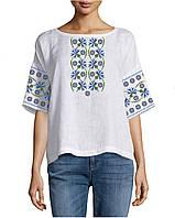 Заготовка вишиванки жіночої сорочки та блузи для вишивки бісером Бисерок  «Волошки» Габардин (білий 9e8e4c47b20f3