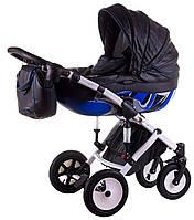 Детская коляска 2 в 1 (Junama) Impulse Motostyle №694 620763 Tako, черная кожа - синий
