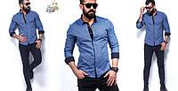 Рубашка мужская синяя турция RSK-24-40-005