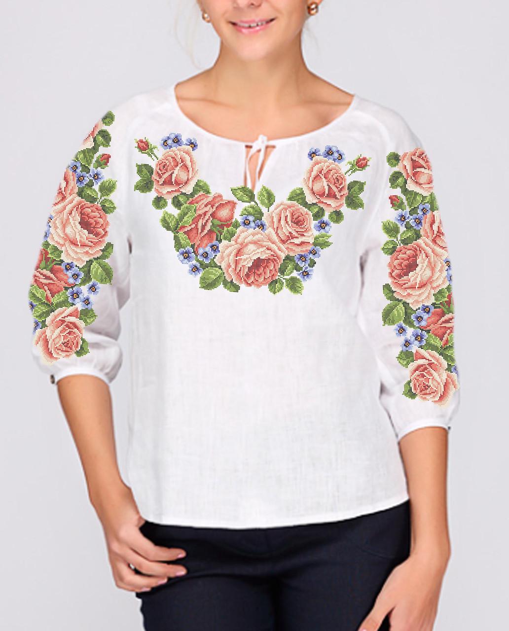 Заготовка вишиванки жіночої сорочки та блузи для вишивки бісером Бисерок  «Квітковий розмай» (Б-47 )