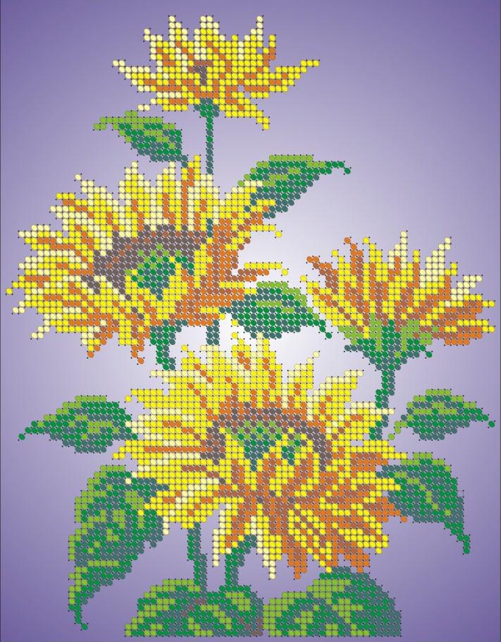 Схема для вишивки та вишивання бісером Бисерок «Соняшники» (A4) 20x25 (ЧВ-3024)