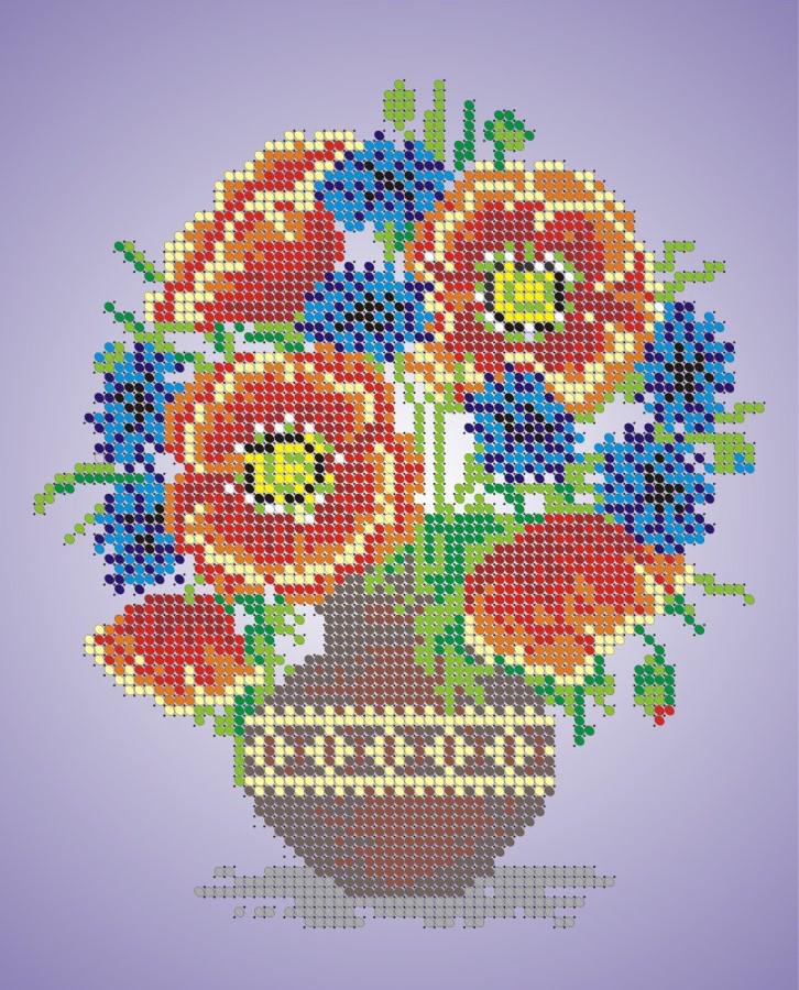 Схема для вишивки та вишивання бісером Бисерок «Букет польових квітів» (A4) 20x25 (ЧВ-3021)