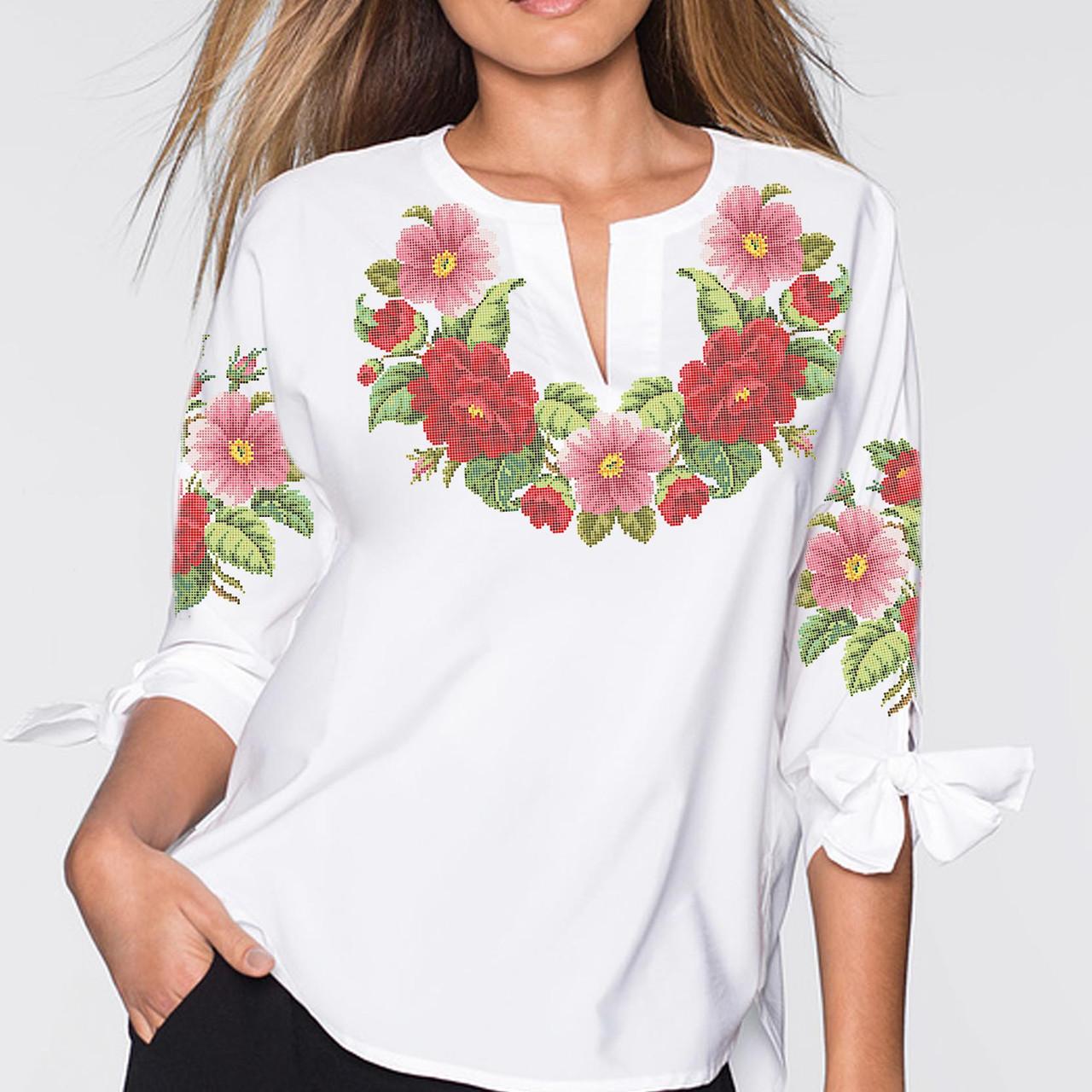 Заготовка вишиванки жіночої сорочки та блузи для вишивки бісером Бисерок «Камелія» (Б-57 ГБ) Габардин