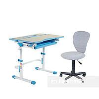 Комплект растущая парта Lavoro L Blue + детское кресло для школьника LST2 Grey FunDesk