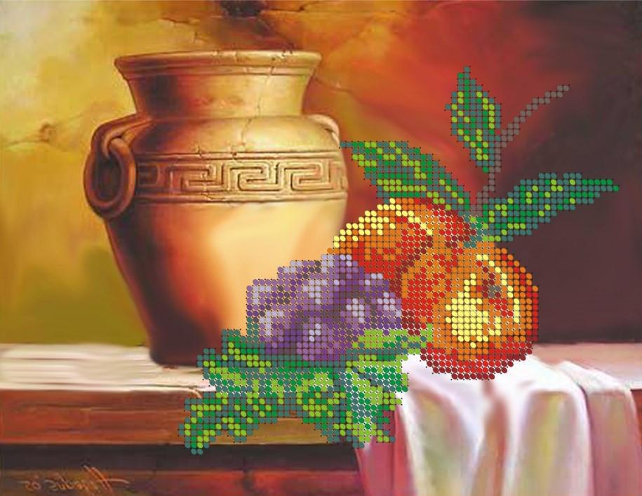 Схема для вишивки та вишивання бісером Бисерок «Натюрморт з вазою» (A4) 20x25 (ЧВ-3017)