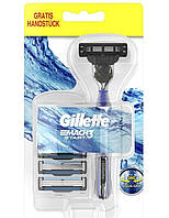 Gillette. Бритва Gillette Mach3 Start с Ручкой Aqua-Grip с тремя сменными насадками (464005)