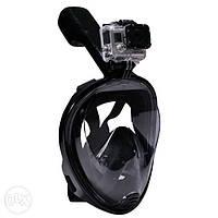 Дайвинг маска Tribord Easybreath Black для подводного плавания сноркелинга c креплением для камеры GoPro