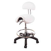 Стул седло со спинкой ZD-2110 для мастера маникюра, для косметолога, для наращивания ресниц, белый