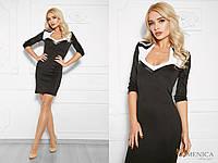 Черно-белое офисное платье с фигурным вырезом 773981