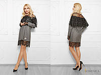 Шерстяное прямое платье с гипюром 773982