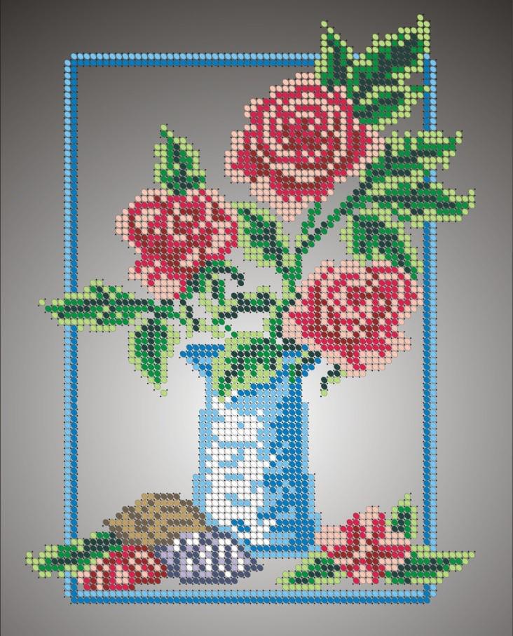 Схема для вишивки та вишивання бісером Бисерок «Ваза з трояндами» (A4) 20x25 (ЧВ-3036)