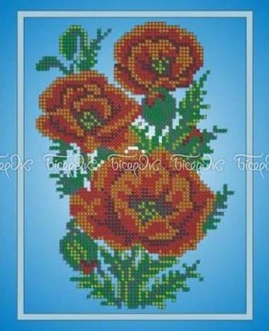Схема для вишивки та вишивання бісером Бисерок «Букет маків» (A4) 20x25 (ЧВ-3035)