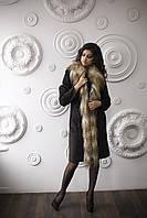 Дубленка женская средней длины модная Д-70 из искусственного дубляжа с натуральным мехом козы и ламы., фото 1