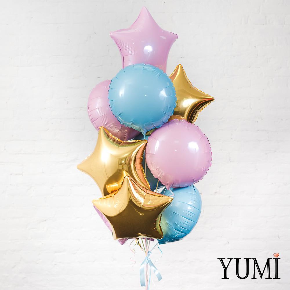 Детская связка из 10 воздушных шариков с гелием
