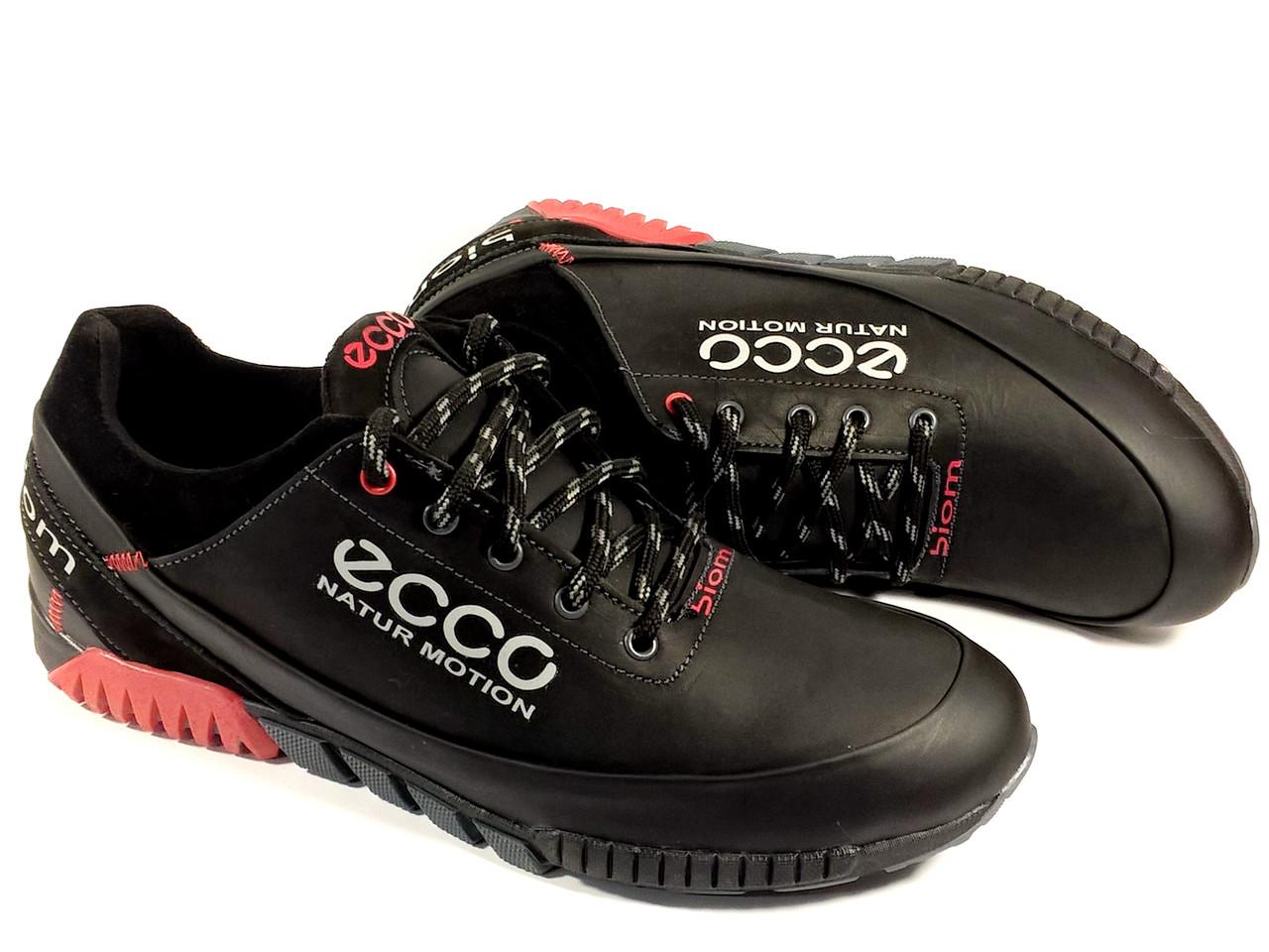 61cbfef0 Мужские кроссовки Ecco E7 чёрные, осень-весна, натуральная кожа -  интернет-магазин