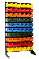 Стеллаж металлический с пластиковыми ящиками