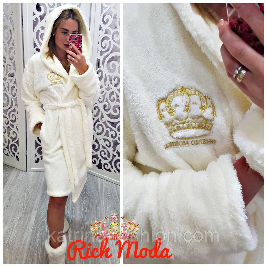 Женкий м'який і стильний халат із золотою вишивкою