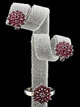 Комплект Фианит серьги и кольцо малиновый цветок