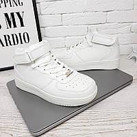 Женские кроссовки высокие на липучке белые 236