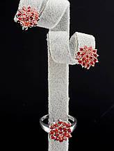 Комплект Фианит коричневые цветы серьги и кольцо 18 размер
