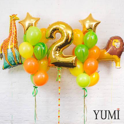 Композиция Тропики: фигуры жираф и лев, цифра 2 золото с гирляндой и 2 фонтана из разноцветных шаров , фото 2