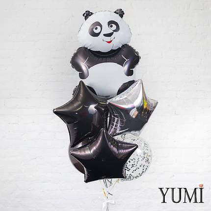 Композиция из шара Панда, 1 серебряной, 2 чёрных звезд, 1 чёрного и 2 шаров с серебряным конфетти, фото 2