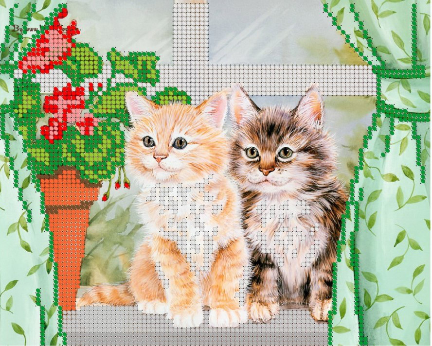 Схема для вишивки та вишивання бісером Бисерок «Кішки на вікні» (A4) 20x25 (ЧВ-3059)