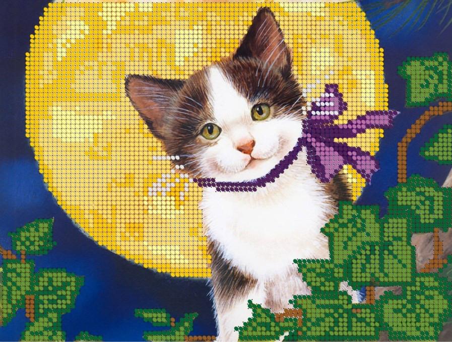 Схема для вишивки та вишивання бісером Бисерок «Кіт на місяці» (A4) 20x25 (ЧВ-3057)