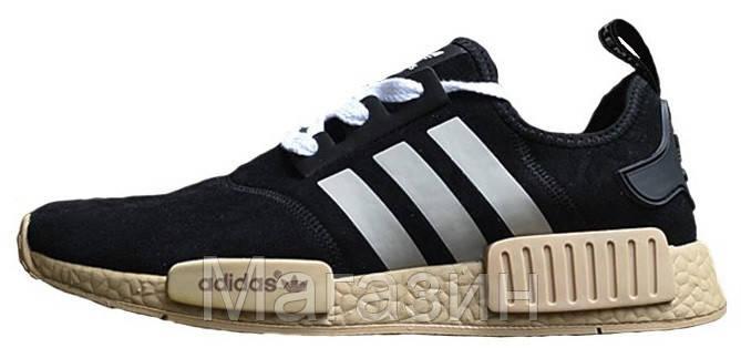 Мужские кроссовки Adidas NMD Suede Black Адидас НМД замшевые черные