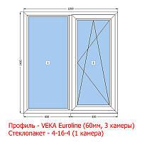 Окно металлопластиковое 1300х1400 (1 глухое,1 открывное) VEKA Euroline (60мм)
