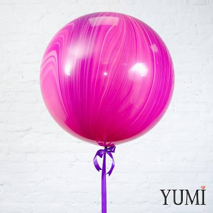 Стильный гелиевый розовый мраморный шар-гигант для девушки, фото 2