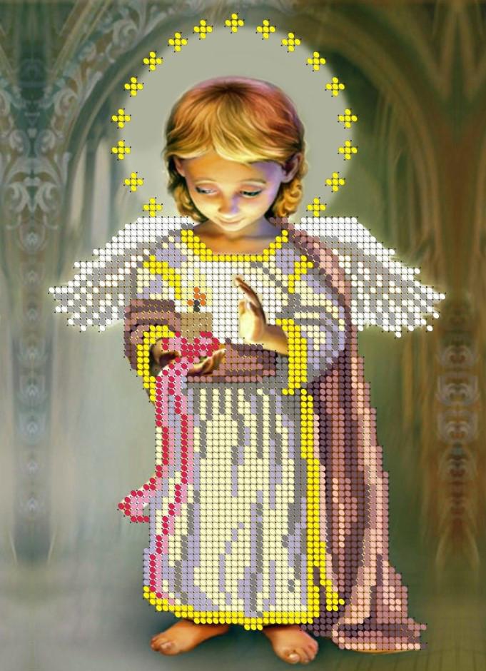 Схема для вишивки та вишивання бісером Бисерок «Ангел зі свічкою» (A4) 20x25 (ЧВ-3053)