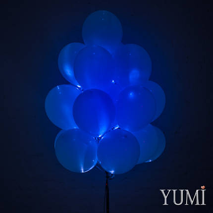 Связка из 20 синих светящихся шаров с гелием, фото 2