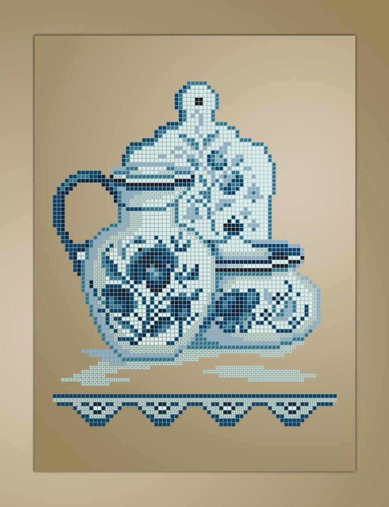 Схема для вишивки та вишивання бісером Бисерок «Кухонний натюрморт-4 коричневий фон» (A4) 20x25  (ЧВ-3355-К (10))