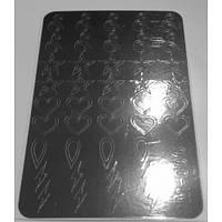Металлизированные наклейки для фигурного френча CANNI серебро  М-006