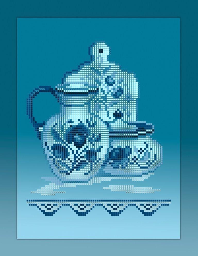 Схема для вишивки та вишивання бісером Бисерок «Кухонний натюрморт-4 голубий фон» (A4) 20x25  (ЧВ-3355-Г (10))
