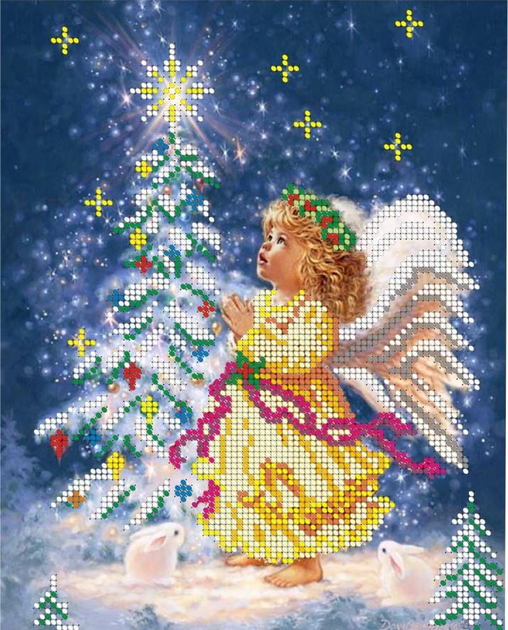 Схема для вишивки та вишивання бісером Бисерок «Різдвяний янгол» (A4) 20x25 (ЧВ-3077(10))