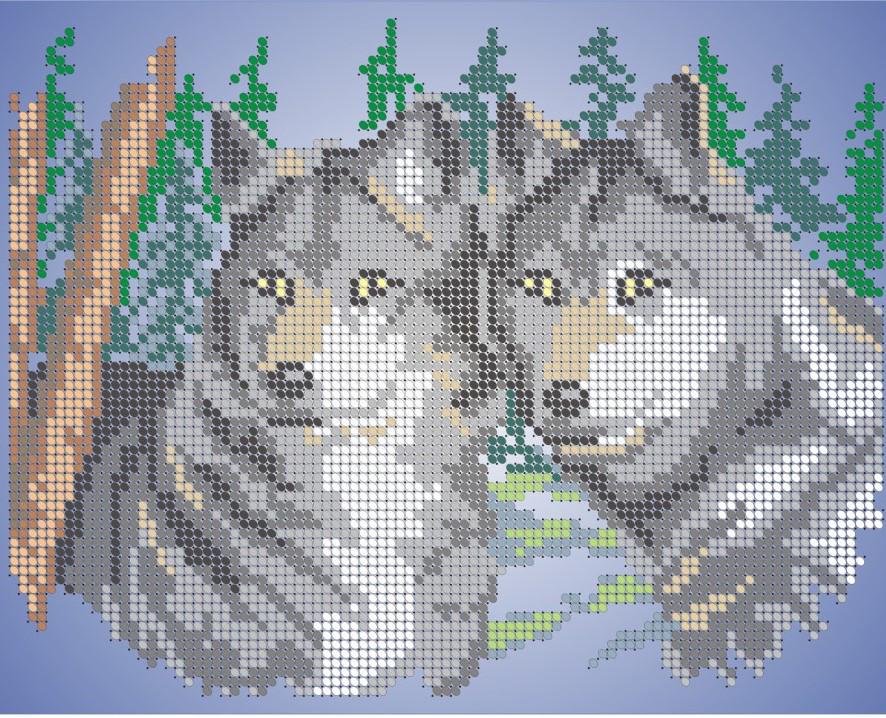 Схема для вишивки та вишивання бісером Бисерок «Пара вовків» (A4) 20x25 (ЧВ-3076)