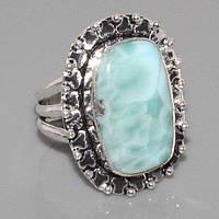 Ларимар кольцо с натуральным ларимаром Доминикана в серебре 19.5 размер, фото 1