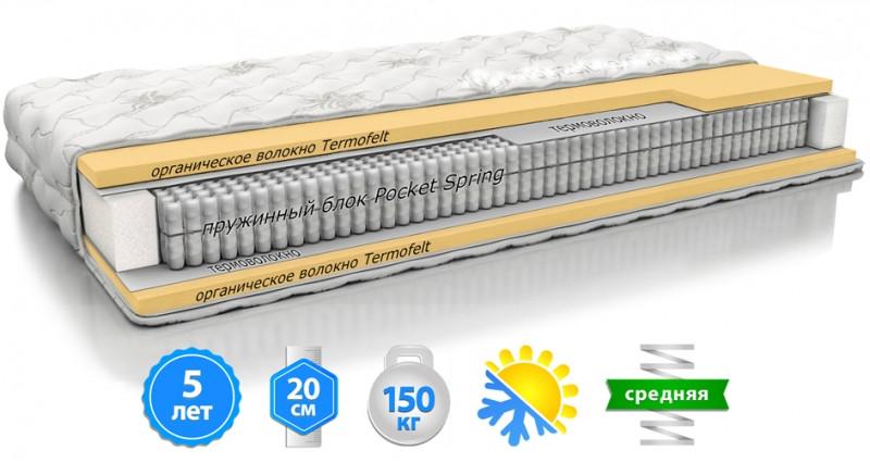 Пружинный матрас Matroluxe Macchiato Pocket-Spring высотой 20 см двусторонний Зима-Лето ортопедический