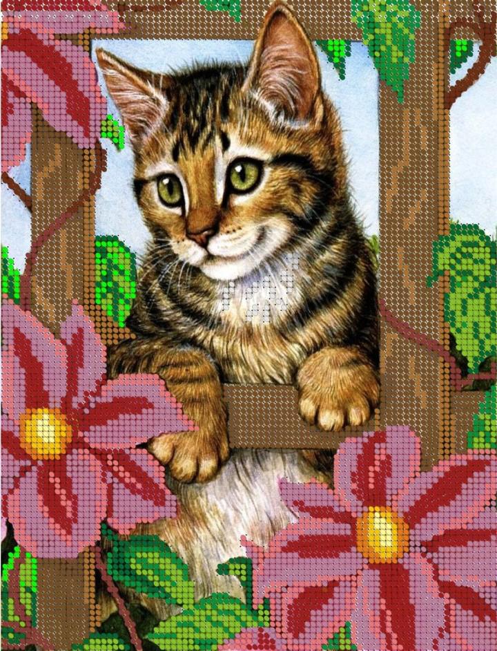Схема для вишивки та вишивання бісером Бисерок «Кіт в саду» (A4) 20x25 (ЧВ-3068)