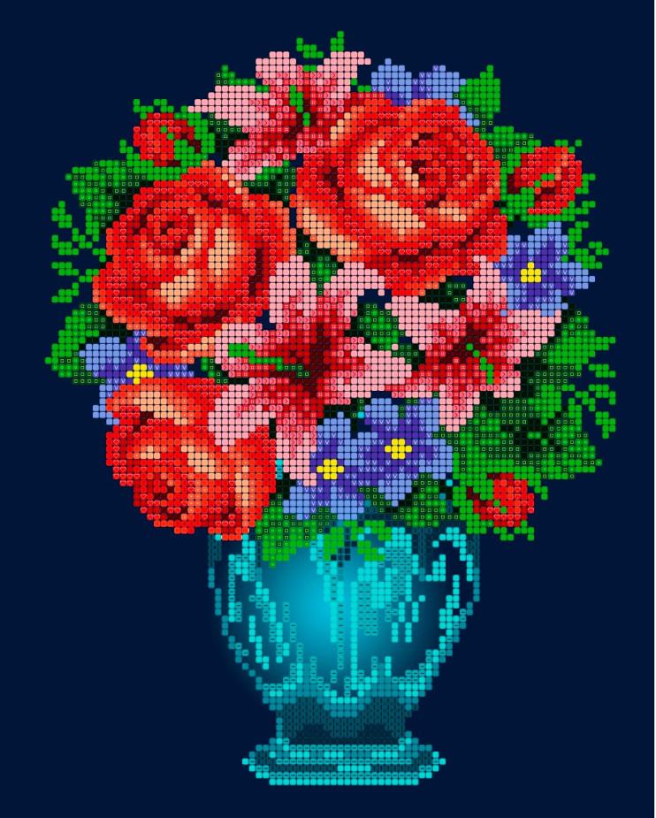 Схема для вишивки та вишивання бісером Бисерок «Букет з трояндами» (A4) 20x25 (ЧВ-3090(10))