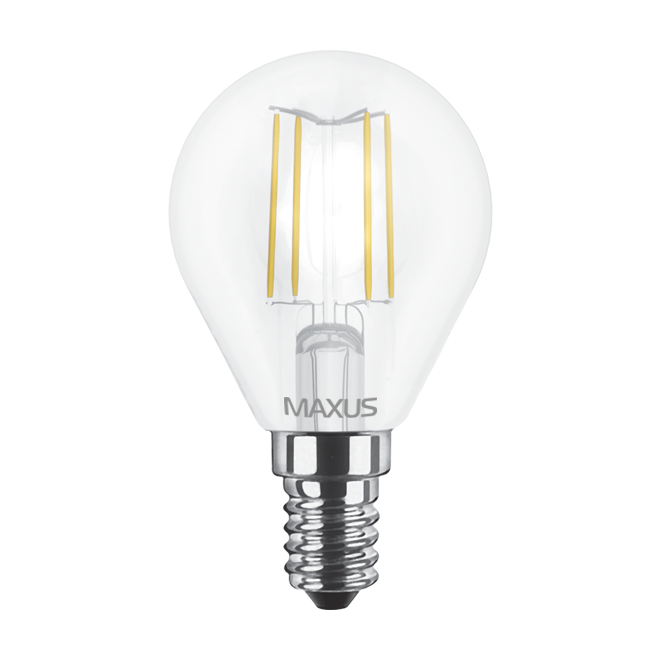 Светодиодная LED лампа MAXUS, 4W, 3000K, 220V, G45 FM, E14