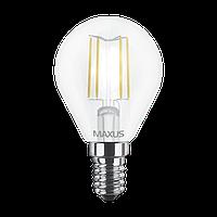 Светодиодная LED лампа MAXUS, 4W, 4100K, 220V, G45 FM, E14