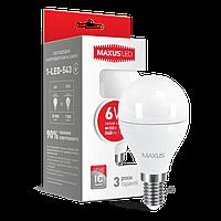 Светодиодная LED лампа MAXUS, 6W, 3000K, 220V, G45 F, E14