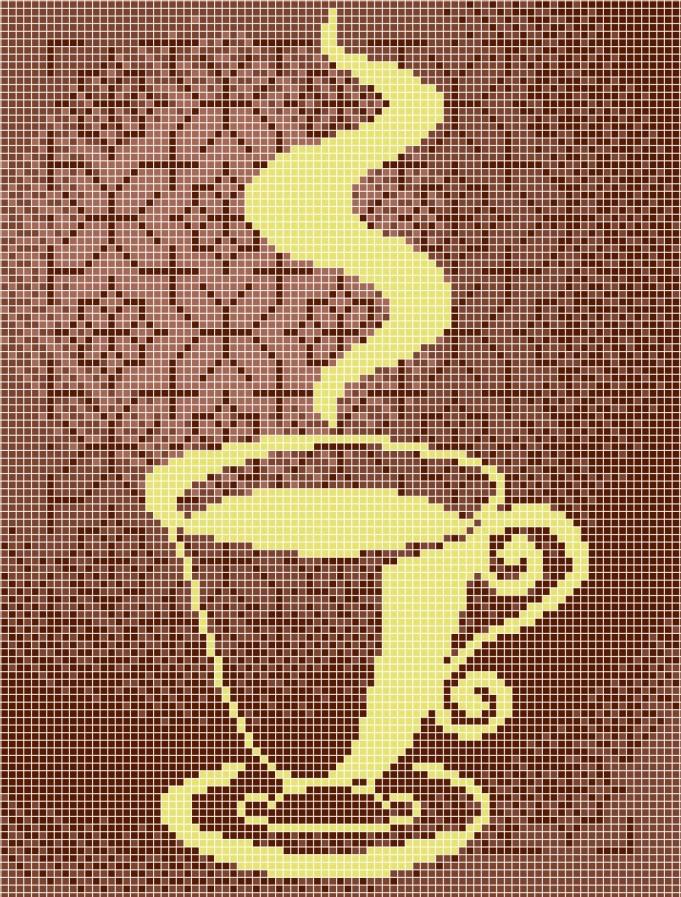 Схема для вишивки та вишивання бісером Бисерок «Чашка в орнаменті» (A4) 20x25 (ЧВ-3096(10))
