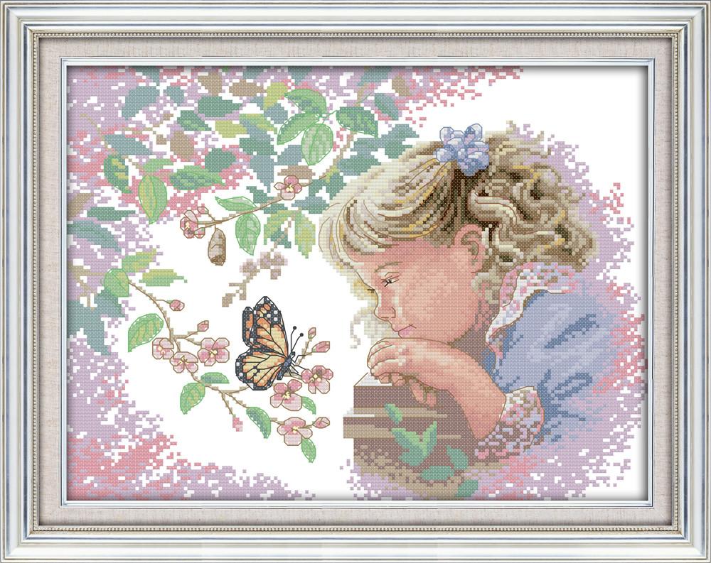 Девочка с бабочкой  Набор для вышивки крестом с печатью на ткани 14ст
